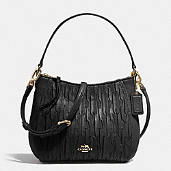 COACH F51908 - MADISON TOP HANDLE BAG IN GATHERED LEATHER  LIGHT GOLD/BLACK
