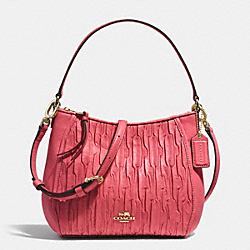 COACH F51908 - MADISON TOP HANDLE BAG IN GATHERED LEATHER  LIGHT GOLD/LOGANBERRY