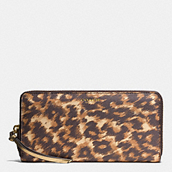 COACH F51912 Accordion Zip Wallet In Ocelot Print Saffiano Leather  LIGHT GOLD/BROWN MULTI