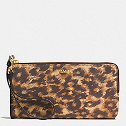 COACH F51920 L-zip Wallet In Saffiano Ocelot Print Leather  LIGHT GOLD/BROWN MULTI
