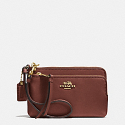 COACH F51928 Madison Double Zip Wristlet In Leather  LIGHT GOLD/BRICK