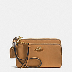 COACH F51928 Madison Double Zip Wristlet In Leather  LIGHT GOLD/BRINDLE
