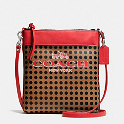 BLEECKER NORTH/SOUTH SWINGPACK IN DOTS COATED CANVAS - f51935 - AK/BRINDLE/BLACK