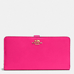 COACH F51936 Skinny Wallet In Leather LIGHT GOLD/PINK RUBY