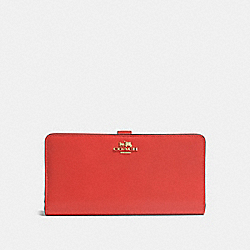 SKINNY WALLET IN REFINED CALF LEATHER - f51936 - LIGHT GOLD/DEEP CORAL