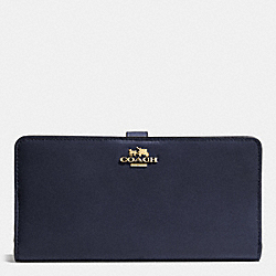 COACH F51936 Skinny Wallet In Calf Leather LIGHT GOLD/NAVY