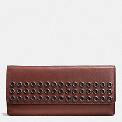 COACH F51967 Bleecker Soft Wallet With Grommets In Leather  BLACK ANTIQUE NICKEL/BRICK