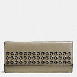 COACH F51967 Bleecker Soft Wallet With Grommets In Leather  BLACK ANTIQUE NICKEL/OLIVE GREY