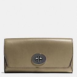 COACH F51968 Slim Envelope Wallet In Leather BLACK ANTIQUE NICKEL/OLIVE GREY