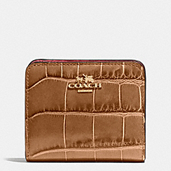 COACH F51975 Small Wallet In Croc Embossed Leather LIGHT GOLD/BRONZE