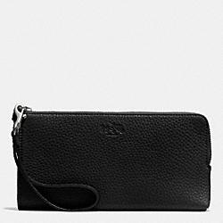 COACH F51981 Bleecker L-zip Wallet In Pebble Leather  SILVER/BLACK