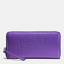 COACH F51989 Bleecker Accordion Zip Around Wallet In Signature Embossed Leather DARK NICKEL/PURPLE IRIS