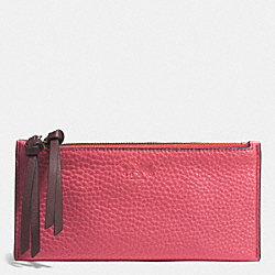 COACH F52031 Bleecker Colorblock Double Zip Case BRASS/LGNBRRY/SFFRN BRCK