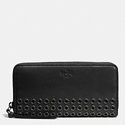 COACH F52076 Bleecker Grommets Accordion Zip Wallet In Leather  ANTIQUE NICKEL/BLACK