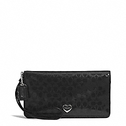 PERFORATED EMBOSSED LIQUID GLOSS DEMI CLUTCH - f52081 - SILVER/BLACK
