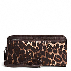 COACH PARK OCELOT PRINT DOUBLE ACCORDION ZIP AROUND WALLET - BRASS/MAHOGANY MULTI - F52097