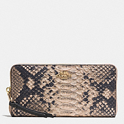 COACH F52100 Madison Accordion Zip Wallet In Diamond Python Leather  LIGHT GOLD/ROSE PETAL