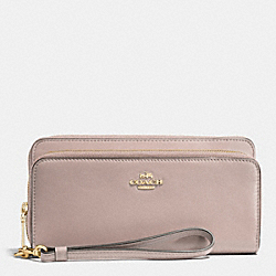 COACH F52103 Double Accordion Zip Wallet In Leather LIGHT GOLD/GREY BIRCH