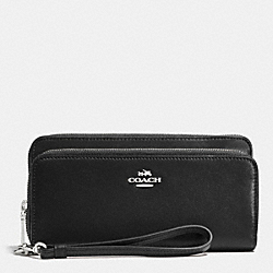 COACH F52103 Double Accordion Zip Wallet In Leather SILVER/BLACK