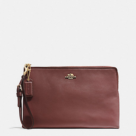 COACH F52106 MADISON LARGE POUCH CLUTCH IN LEATHER -LIGHT-GOLD/BRICK