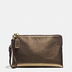 COACH BLEECKER METALLIC LARGE POUCH CLUTCH - GOLD/GOLD - F52107