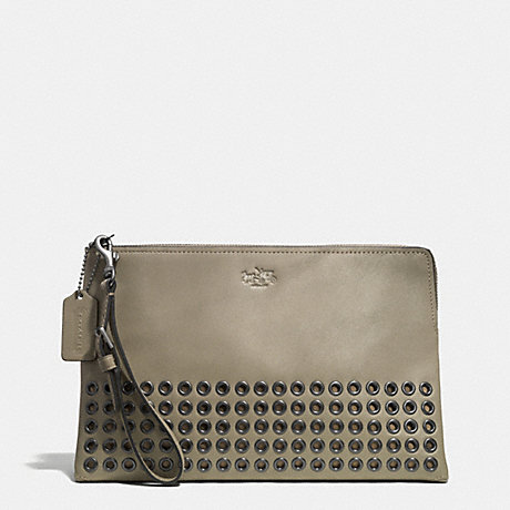 COACH F52109 BLEECKER GROMMETS LARGE POUCH CLUTCH IN LEATHER -BLACK-ANTIQUE-NICKEL/OLIVE-GREY