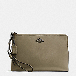 COACH F52115 Madison Large Pouch Wristlet In Leather  BLACK ANTIQUE NICKEL/OLIVE GREY