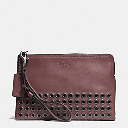 COACH F52116 Bleecker Leather Grommets Pouch Wristlet QB/BRICK