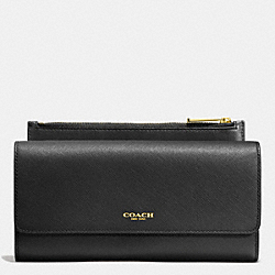 COACH F52119 Slim Envelope Wallet With Pouch In Saffiano Leather LIGHT GOLD/BLACK