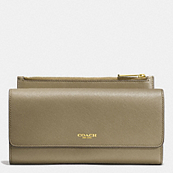 COACH F52119 Saffiano Leather Slim Envelope Wallet With Pouch  LIGHT GOLD/OLIVE GREY