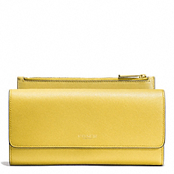 COACH F52119 Saffiano Leather Slim Envelope Wallet With Pouch LIGHT GOLD/SAFFRON