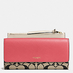 COACH F52120 Slim Envelope Wallet In Printed Signature  GD/LT KHA BLK/LOGANBERRY