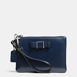 COACH F52137 Darcy Patent Bow Small Wristlet SILVER/NAVY