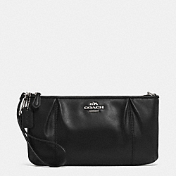 COACH COLETTE LEATHER ZIP TOP WRISTLET - SILVER/BLACK - F52153