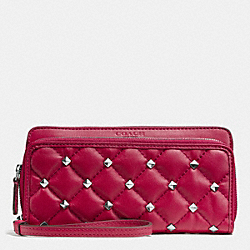 COACH F52160 Metro Studded Quilted Double Accordion Zip Wallet SILVER/BERRY