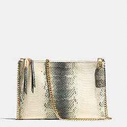 ZIP TOP CROSSBODY IN STRIPED PYTHON EMBOSSED LEATHER - f52161 -  GOLD/BLACK/WHITE