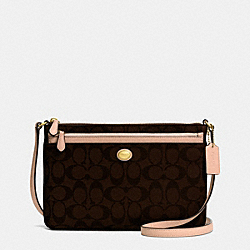 COACH F52175 - PEYTON SIGNATURE SWINGPACK WITH POP UP POUCH BRASS/BROWN/TAN