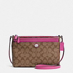COACH F52175 Peyton Signature Swingpack With Pop Up Pouch SILVER/KHAKI/FUCHSIA
