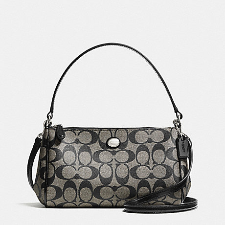6005dfaa2a224 COACH f52187 PEYTON SIGNATURE TOP HANDLE POUCH WITH CROSSBODY  SILVER BLACK WHITE BLACK