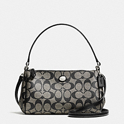 COACH F52187 Peyton Signature Top Handle Pouch With Crossbody SILVER/BLACK/WHITE/BLACK