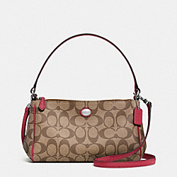 COACH F52187 Peyton Signature Top Handle Pouch With Crossbody SILVER/KHAKI/RED