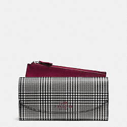 COACH F52200 Peyton Glen Plaid Print Slim Envelope Wallet With Pouch SILVER/CRANBERRY MULTI
