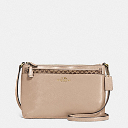 DARCY LEATHER SWINGPACK WITH POP UP POUCH - f52206 - BRASS/SAND