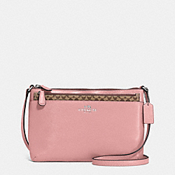 DARCY LEATHER SWINGPACK WITH POP UP POUCH - f52206 - SILVER/LIGHT PINK