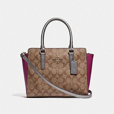 COACH F52242 LEAH SATCHEL IN COLORBLOCK SIGNATURE CANVAS<br>蔻驰莉亚挎在拼色签名画布 卡其色多/仿金