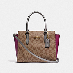 COACH F52242 - LEAH SATCHEL IN COLORBLOCK SIGNATURE CANVAS KHAKI MULTI /IMITATION GOLD