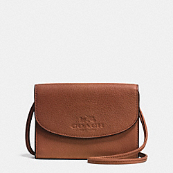 COACH F52248 - PHONE CROSSBODY IN PEBBLE LEATHER LIGHT GOLD/SADDLE