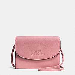 COACH F52248 - PHONE CROSSBODY IN PEBBLE LEATHER SILVER/SHADOW ROSE