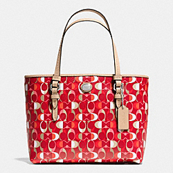 COACH F52262 Peyton Dream C Print Top Handle Tote SILVER/VERMILLION MULIGHTICOLOR