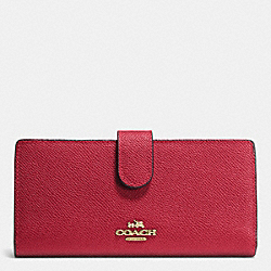 COACH F52326 Skinny Wallet In Embossed Textured Leather LIGHT GOLD/RED CURRANT